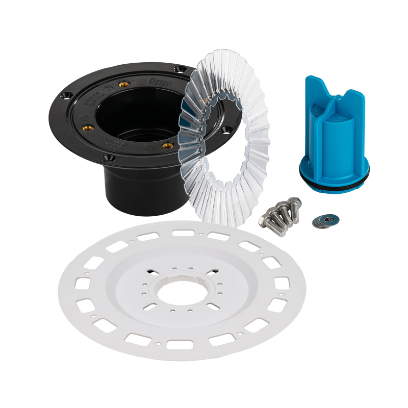 038753016795_H_001.jpg - QuickDrain SquareDrain Small Universal Flange Adaptor Full Kit with ABS Drain Assembly and Accessories