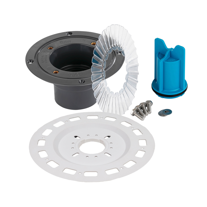 038753016832_H_001.jpg - QuickDrain SquareDrain Small Universal Flange Adaptor Full Kit with PVC Drain Assembly and Accessories