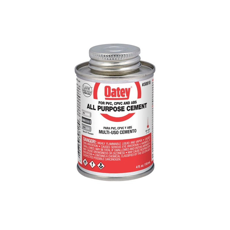 Oatey® 4 oz. All-Purpose ABS, PVC and CPVC Clear Cement
