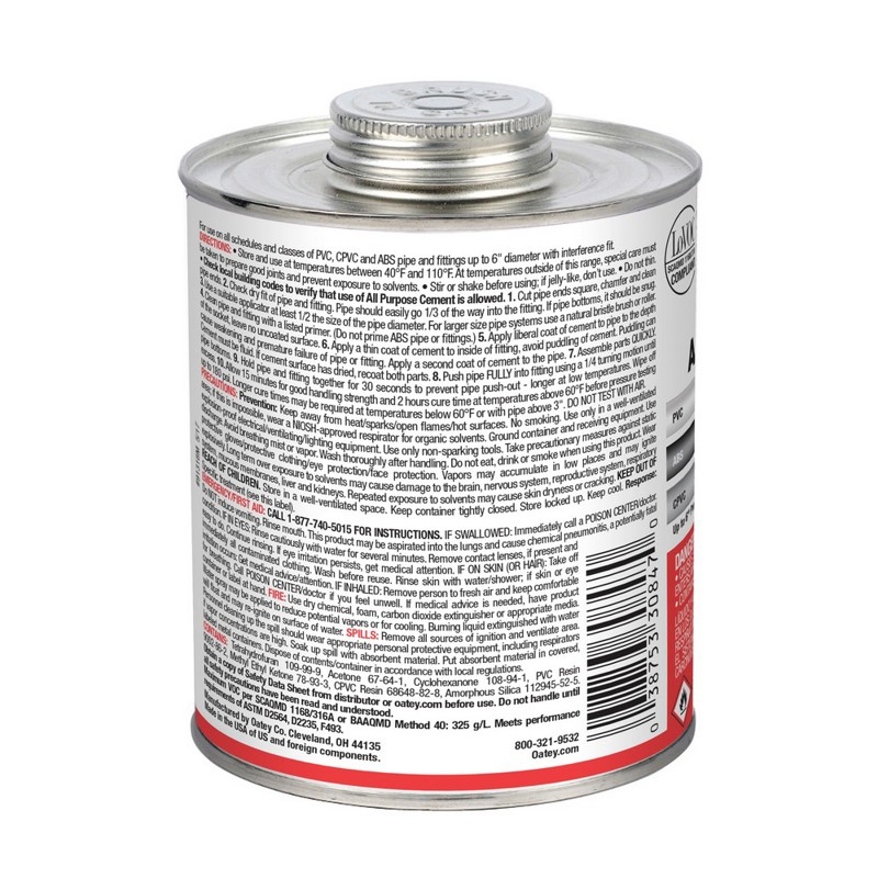Oatey®32 oz. All-Purpose ABS, PVC and CPVC Clear Cement