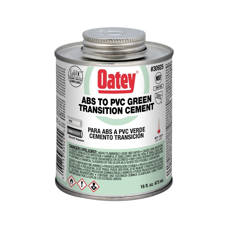 Oatey® 16 oz. ABS To PVC Transition Green Cement