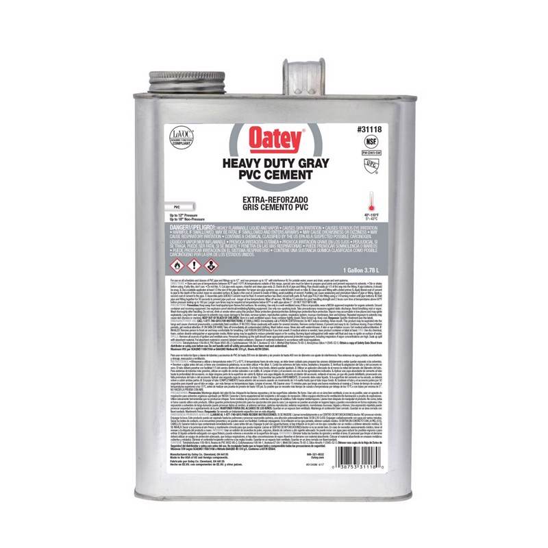 Oatey® Gallon PVC Heavy Duty Gray Cement with Wide Mouth