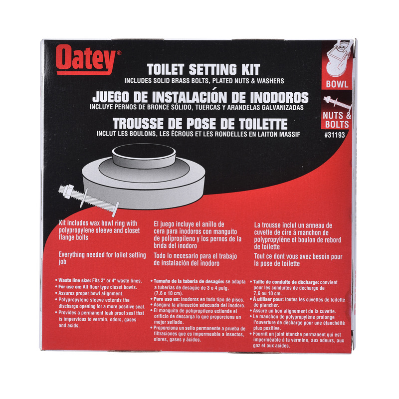 038753311937_P_001.jpg - Oatey® Flanged Wax Gasket with 1/4 in. X 2-1/4 in. Brass Bolts And Nuts