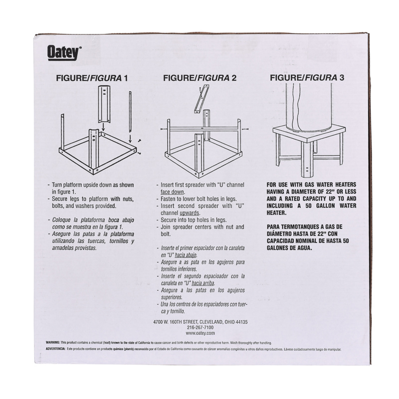 038753340579_I_001.jpg - Oatey® 21 in. Square x 18 in. High Galvanized Water Heater Stand