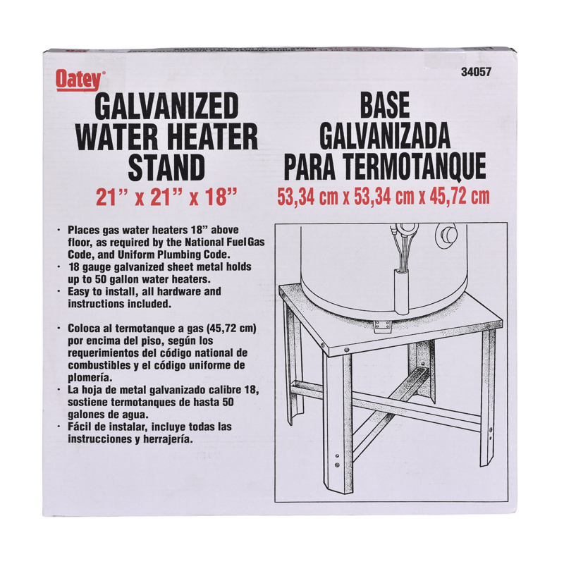 038753340579_P_001.jpg - Oatey® 21 in. Square x 18 in. High Galvanized Water Heater Stand