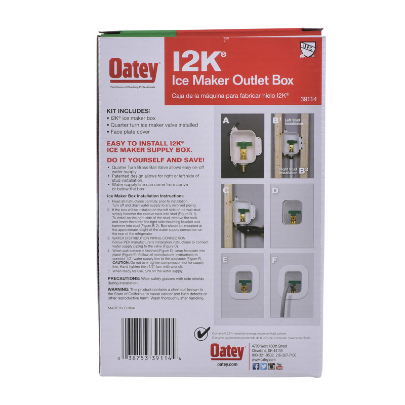 Oatey® I2K, 1/4 Turn, F1807, Low Lead, Ice Maker Outlet Box - Contractor Pack