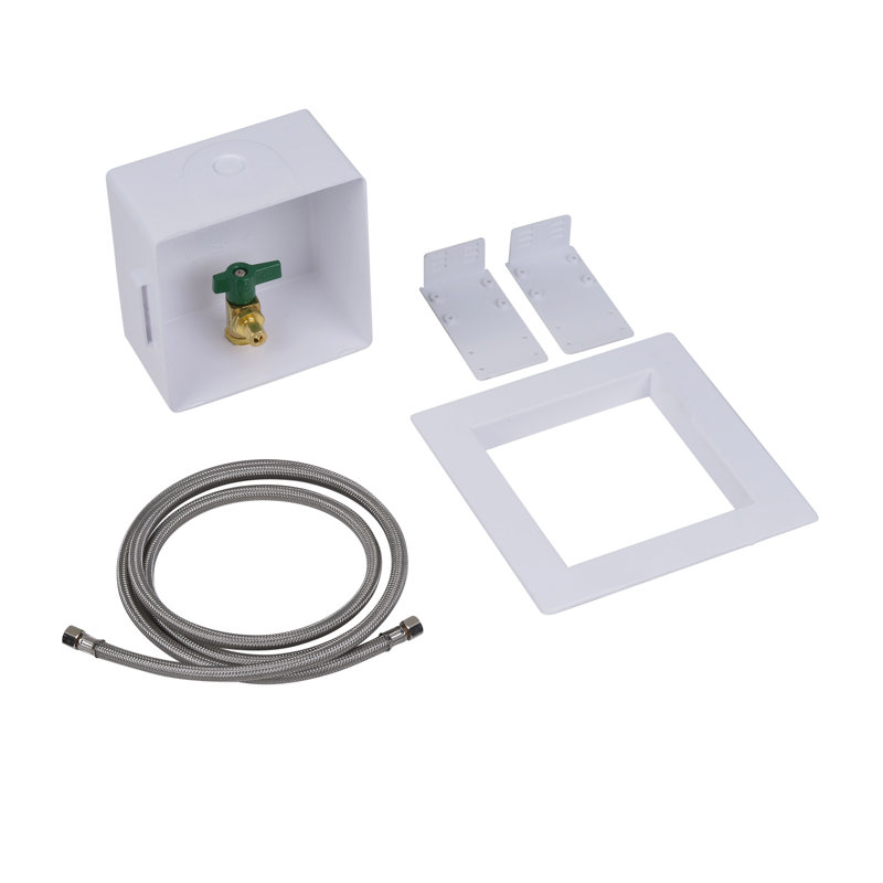 Oatey® Square, 1/4 Turn, CPVC, Low Lead, Ice Maker Outlet Box - Standard Pack, 6' SS Hose
