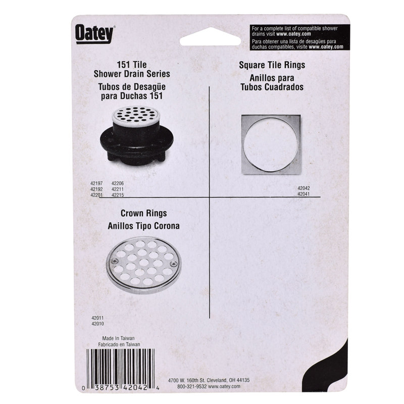 038753420424_I_001.jpg - Oatey® 4-1/4 in. x 4-1/4 in. Stainless Steel Square Tile Ring – Carded