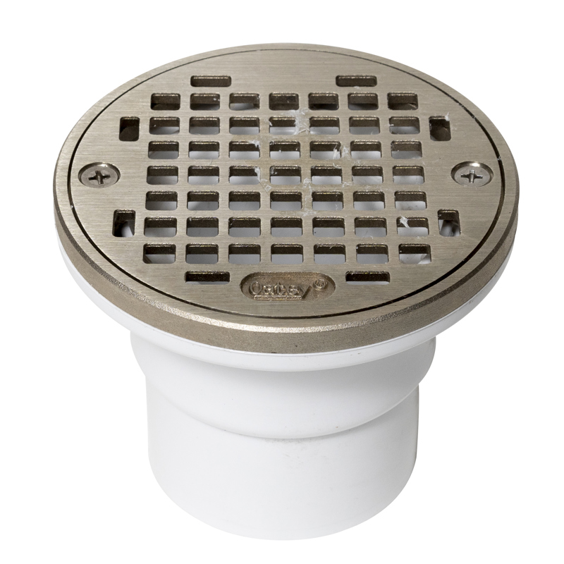 "Oatey® 2"" or 3"" PVC round nickel cast grate w/round ring"