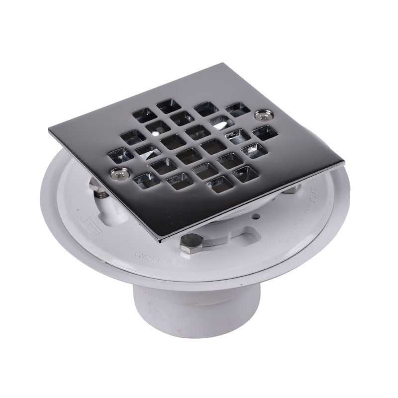 Oatey® 2 in. or 3 in. PVC drain w/ square stainless steel Screw-Tite strainer w/chrome plated brass barrel