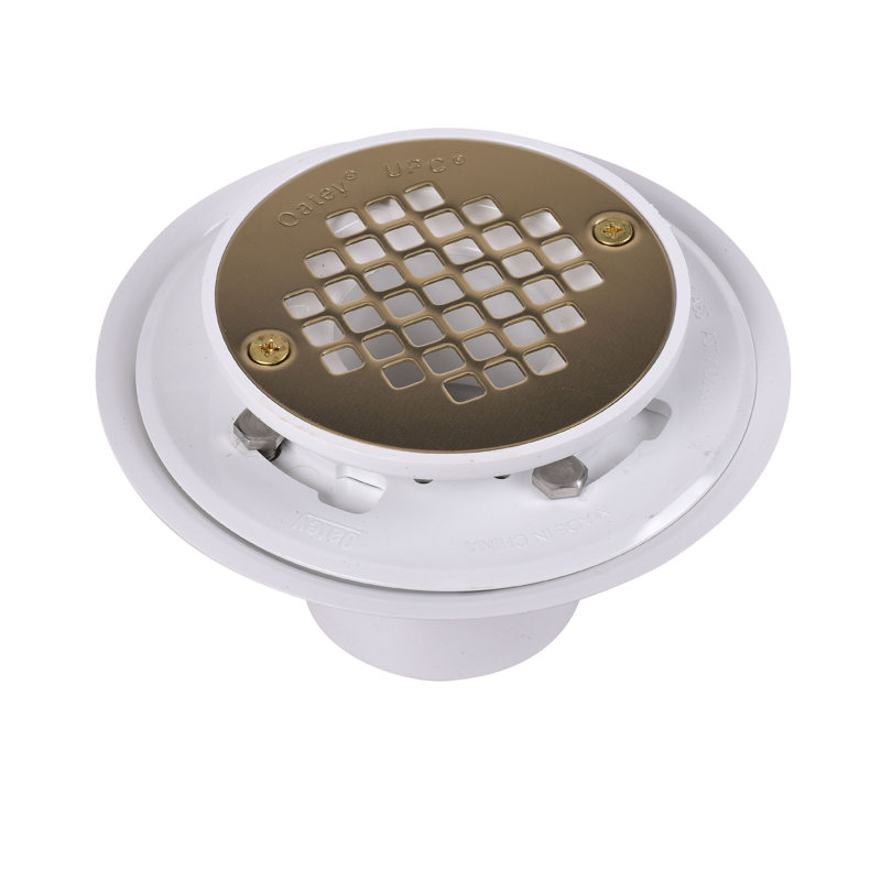 038753424040_H_001.jpg - Oatey® 2 in. or 3 in. PVC Drain with Square Stainless Steel Screw-Tite Strainer and Chrome Plated Brass Barrel