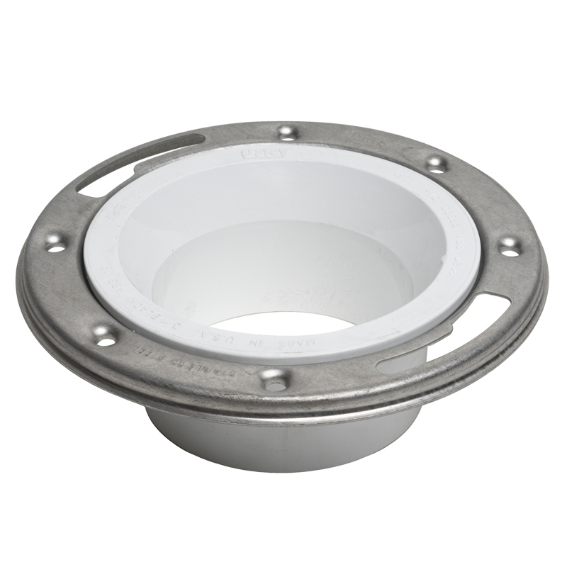 038753434957_H_001.jpg - Oatey® 3 in. x 4 in. PVC Closet Flange with Stainless Steel Ring without Test Cap