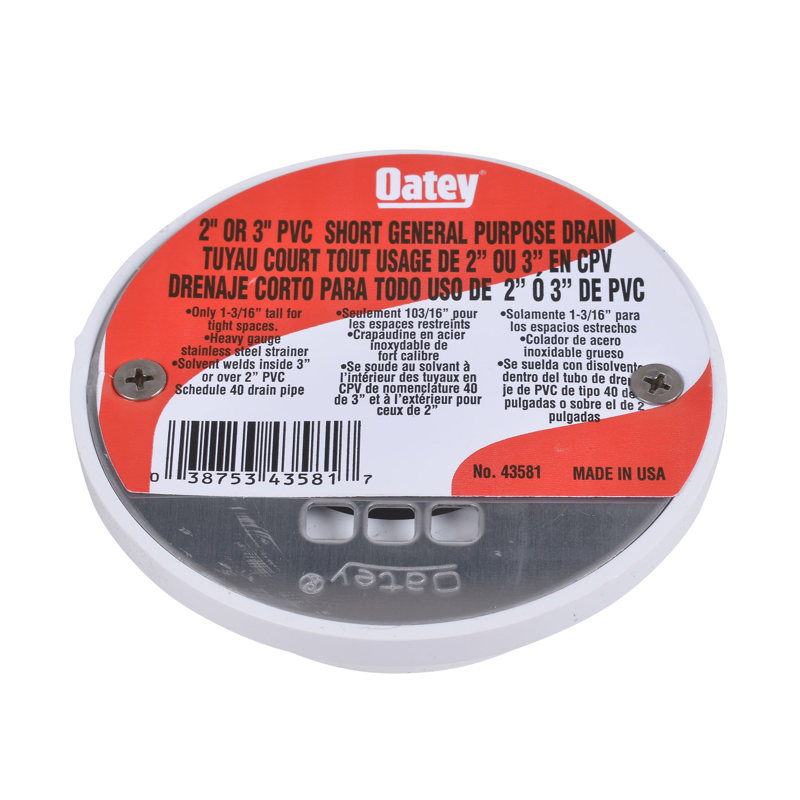 "Oatey® 2"" or 3"" PVC short general purpose drain w/ 4"" stainless steel Screw-Tite strainer"