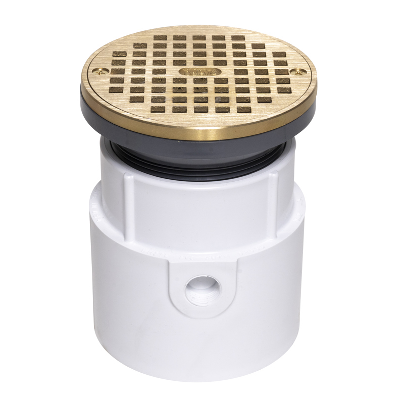 """Oatey® 4"""" PVC Pipe Base General Purpose Drain w/ 6"""" BR Grate & Round Ring"""