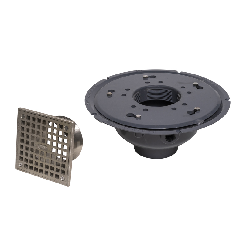 "Oatey® 3"" or 4"" PVC Adj. Commercial Drain w/ 5"" Cast NI Square Grate & Square Top"