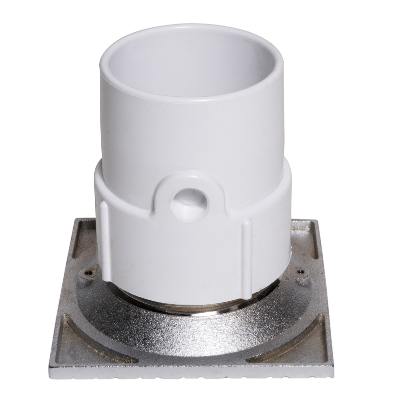 """Oatey® 3"""" or 4"""" PVC General Purpose Pipe Fit Drain w/ 6"""" Cast CHR Grate & Square Top"""