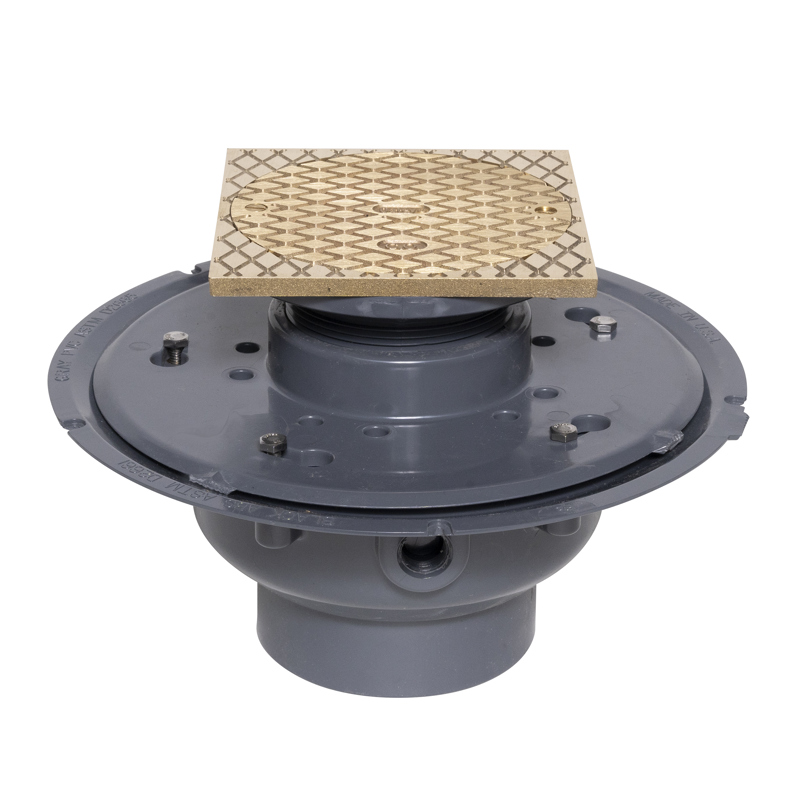 """038753741444_H_001.jpg - Oatey® 4"""" PVC Adj. Commercial Cleanout w/ 6"""" BR Cover & Square Ring"""