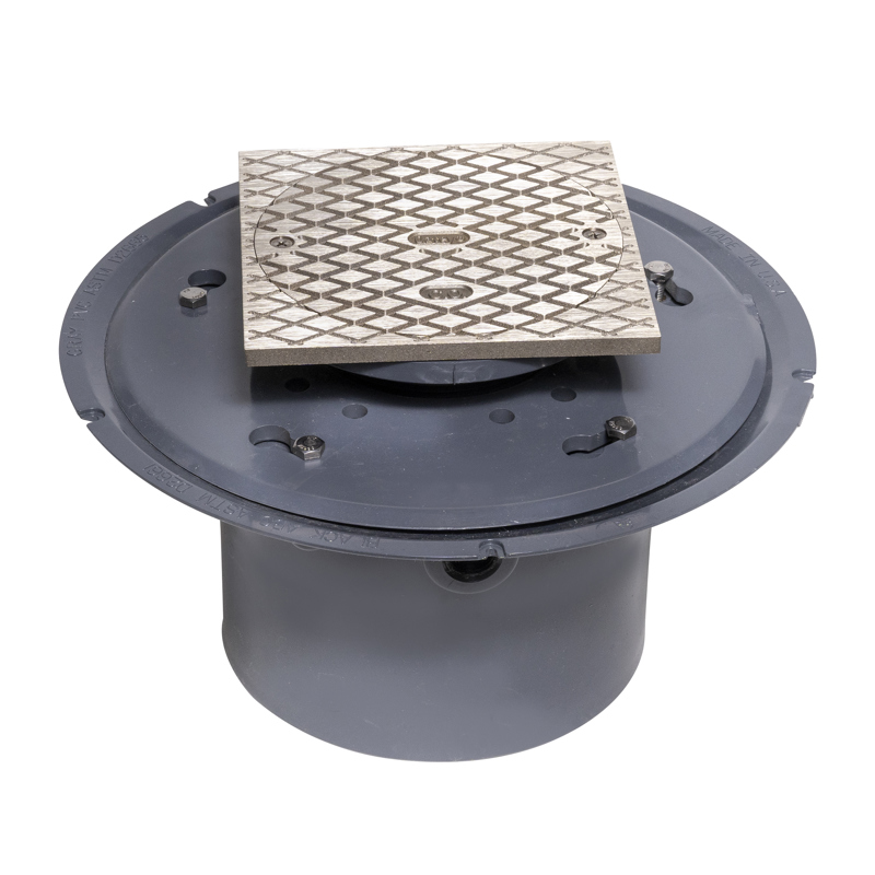 """038753741765_H_001.jpg - Oatey® 6"""" PVC Adj. Commercial Cleanout w/ 6"""" NI Cover & Square Ring"""