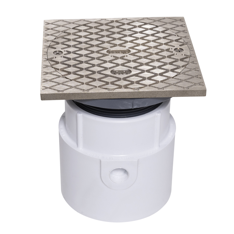 """038753741789_H_001.jpg - Oatey® 4"""" PVC Pipe Base General Purpose Cleanout w/ 6"""" NI Cover & Square Ring"""