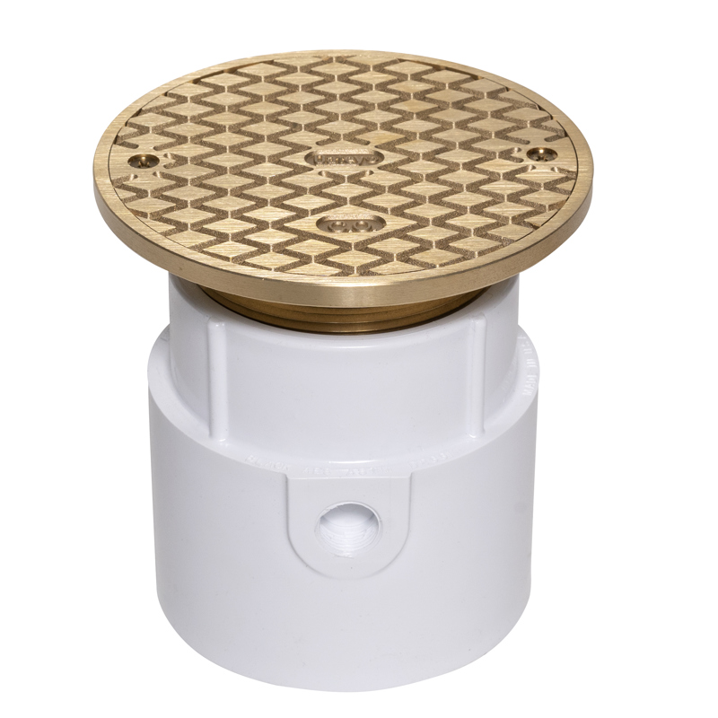 """038753742182_H_001.jpg - Oatey® 4"""" PVC Pipe Base General Purpose Cleanout w/ 6"""" Cast BR Cover & Round Top"""