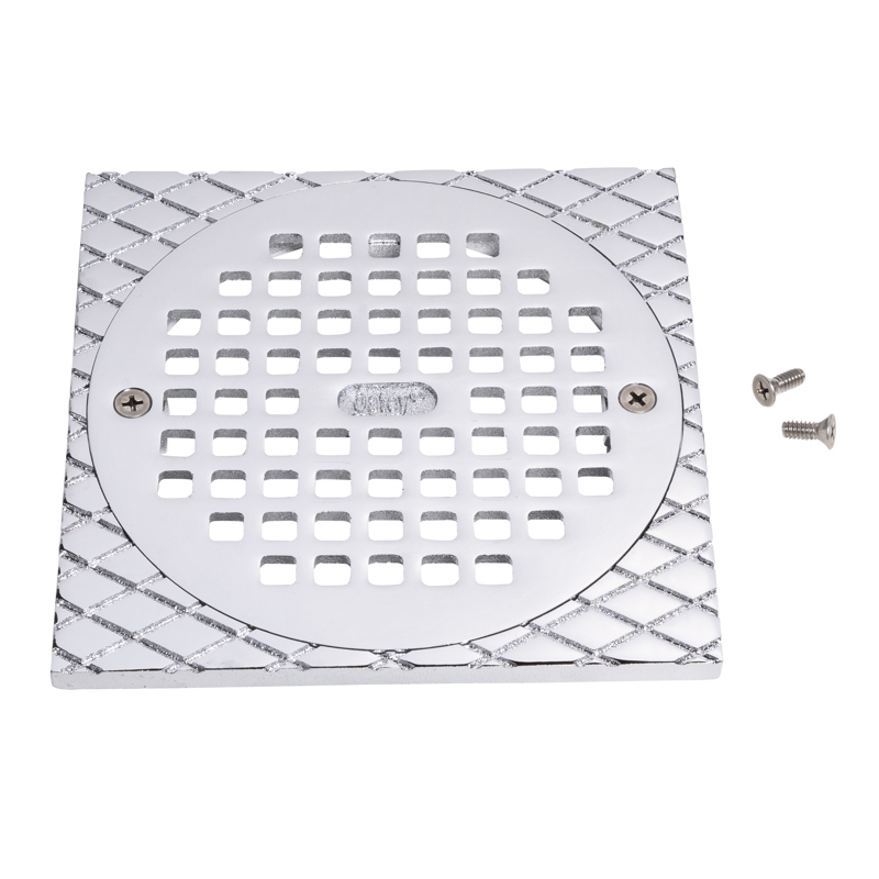 """Oatey® 6"""" Round CHR Grate & Square Ring"""