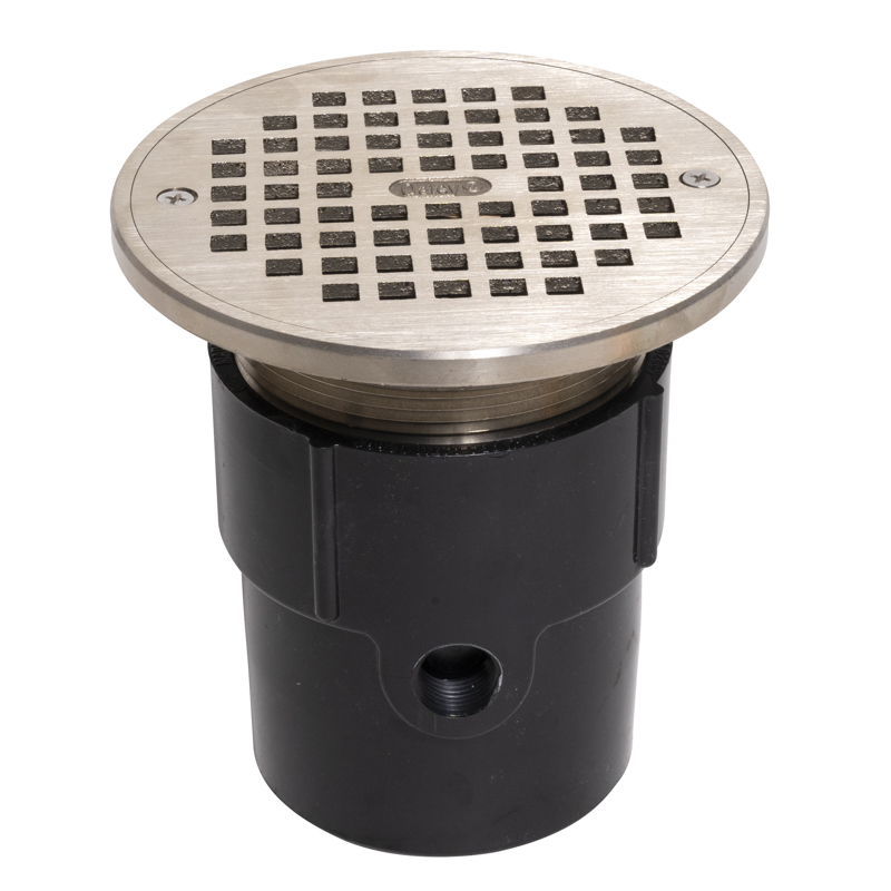 """038753823379_H_001.jpg - Oatey® 3"""" or 4"""" ABS General Purpose Pipe Fit Drain w/ 6"""" Cast NI Grate & Round Top"""