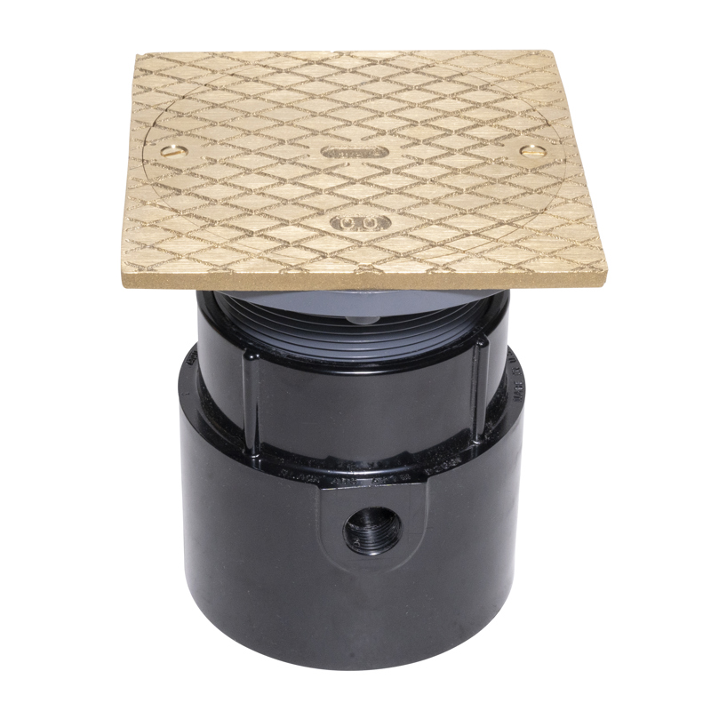 """038753841489_H_001.jpg - Oatey® 4"""" ABS Pipe Base General Purpose Cleanout w/ 6"""" BR Cover & Square Ring"""