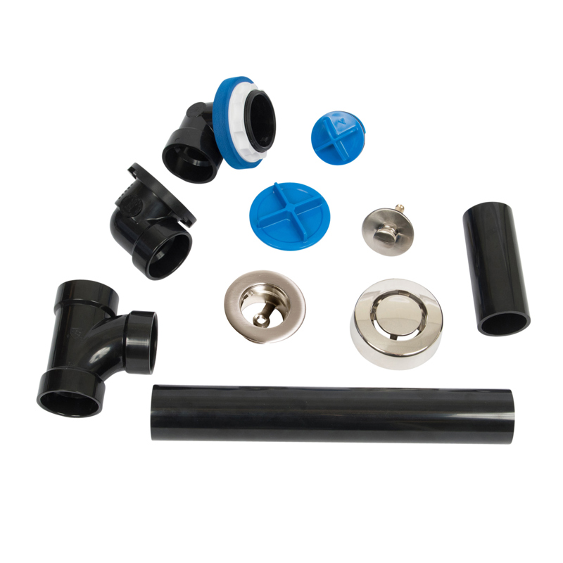 041193462107_H_001.jpg - Dearborn True Blue ABS Full Kit, Push n' Pull Stopper, w/ Test Kit, Brushed Nickel, Finished Drain Spud