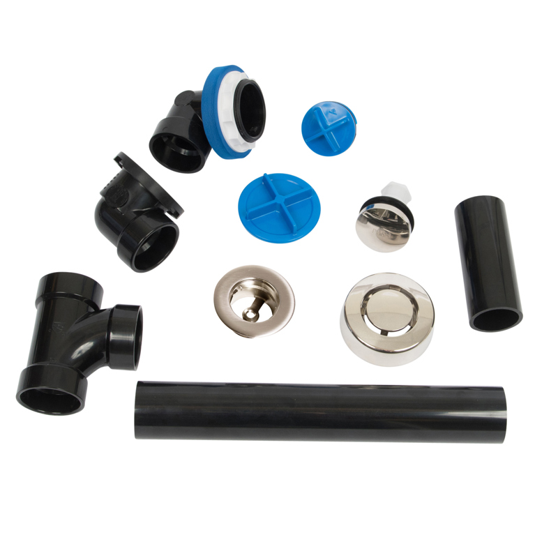 041193462145_H_001.jpg - Dearborn® True Blue® ABS Full Kit, Touch Toe Stopper, with Test Kit, Brushed Nickel, Finished Drain Spud
