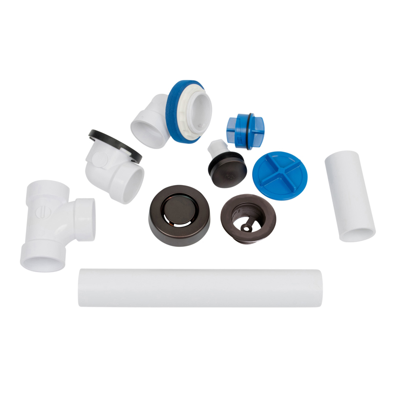 041193462282_H_001.jpg - Dearborn® True Blue® PVC Full Kit, Touch Toe Stopper, with Test Kit, Oil Rubbed Bronze, Finished Drain Spud