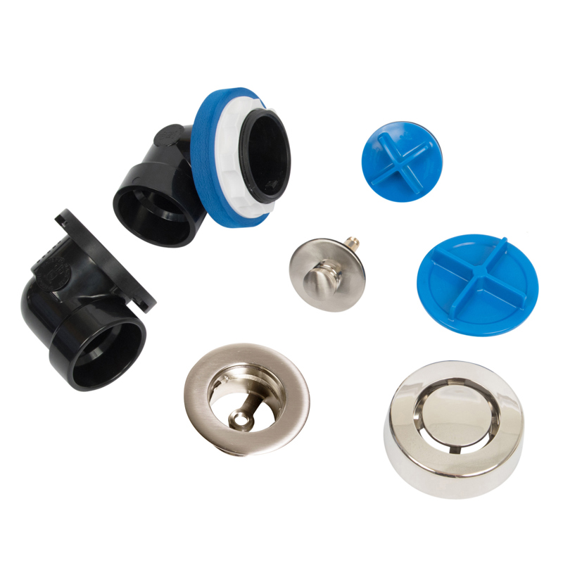 041193462343_H_001.jpg - Dearborn® True Blue® ABS Half Kit, Push n' Pull Stopper, with Test Kit, Brushed Nickel, Finished Drain Spud