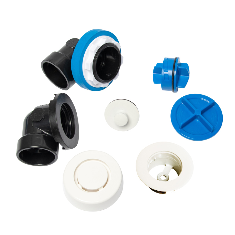 041193462381_H_001.jpg - Dearborn® True Blue® ABS Half Kit, Push n' Pull Stopper, with Test Kit, White, Finished Drain Spud