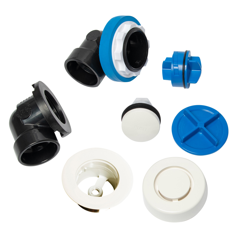 041193462466_H_001.jpg - Dearborn® True Blue® ABS Half Kit, Touch Toe Stopper, with Test Kit, White, Finished Drain Spud