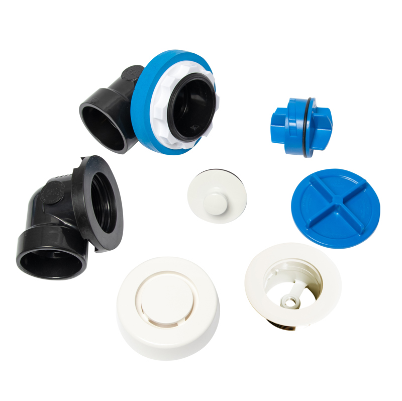 041193462541_H_001.jpg - Dearborn® True Blue® ABS Half Kit, Uni-Lift Stopper, with Test Kit, White, Finished Drain Spud