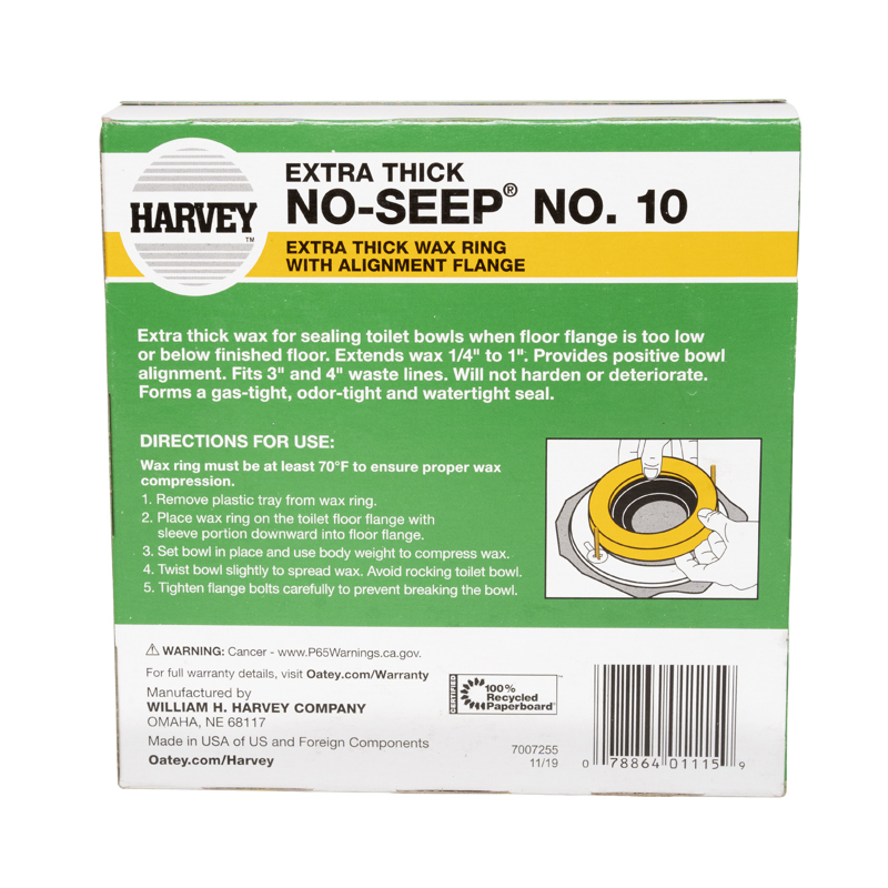 078864011159_P_008.jpg - Harvey™ No-Seep® 3 in. or 4 in. No. 10 Extra Thick Wax Gasket