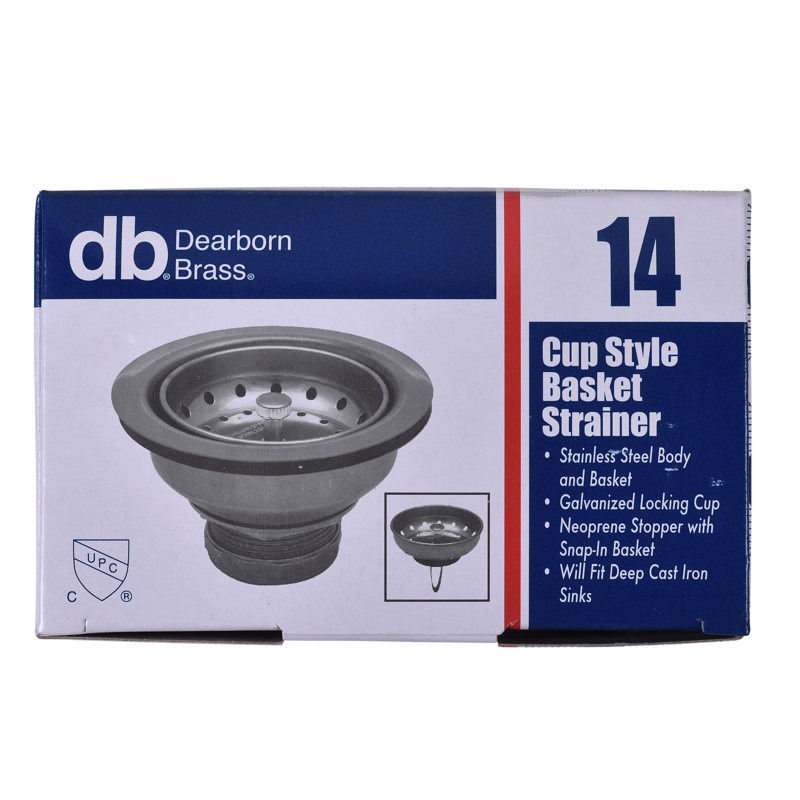 14_r.jpg - Dearborn® Shallow Cup Basket Strainer, Stainless Steel Body and Basket Shallow Locking Cup. Neoprene Stopper w/ Snap-In Basket w/ Bright. Flange. Length- 2-3/4 in.. Fits Deep Cast Iron Sinks