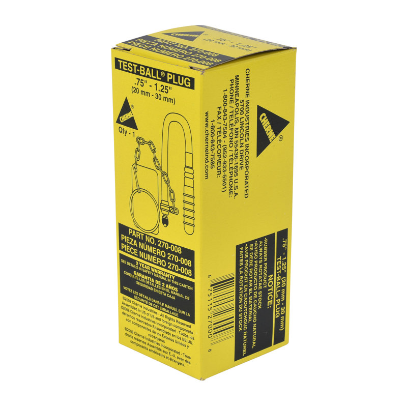 Cherne® 3/4 in.-1-1/4 in. Test-Ball® Plug