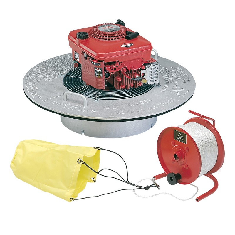 """Cherne® AIR-LOC Fan Assembly With BRIGGS & STRATTON Engine, 1000' Nylon Rope and Reel, 6-10"""" Parachute"""