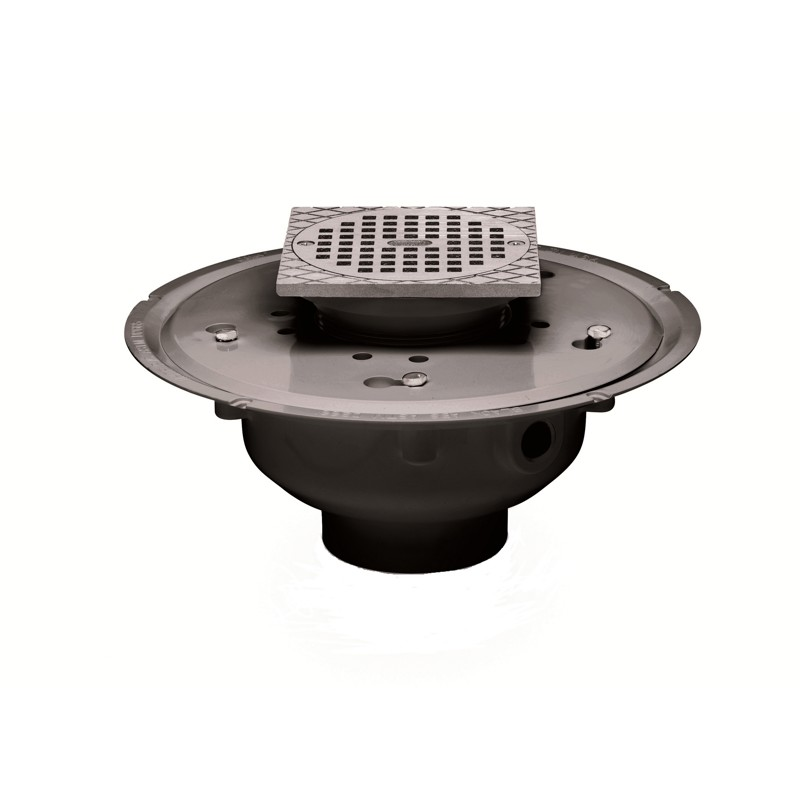 "Oatey® 3"" or 4"" PVC Adj. Commercial Drain w/ 5"" BR Grate & Square Ring"