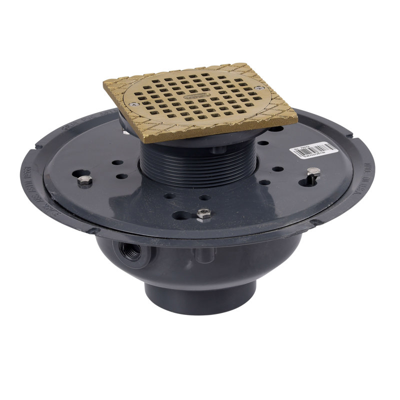 "Oatey® 3"" or 4"" PVC Adj. Commercial Drain w/ 5"" NI Grate & Square Ring"