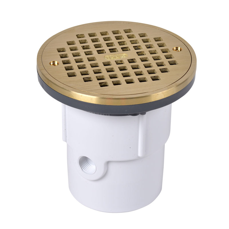"""Oatey® 3"""" or 4"""" PVC General Purpose Drain w/ 6"""" BR Grate & Round Ring"""