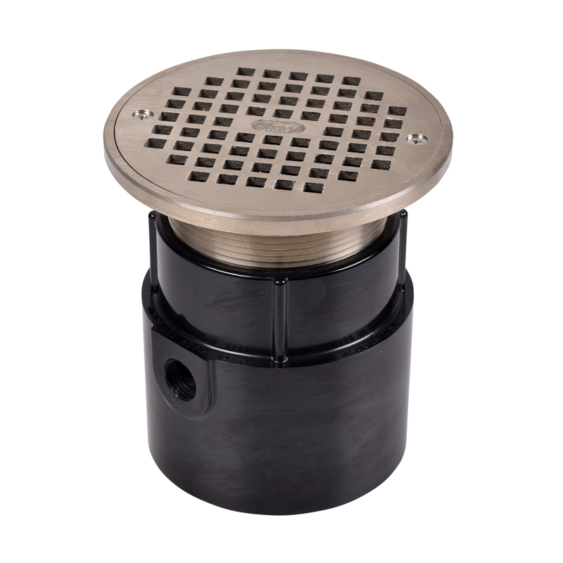 """Oatey® 4"""" ABS General Purpose Pipe Fit Drain w/ 6 """" Cast NI Grate & Round Top"""