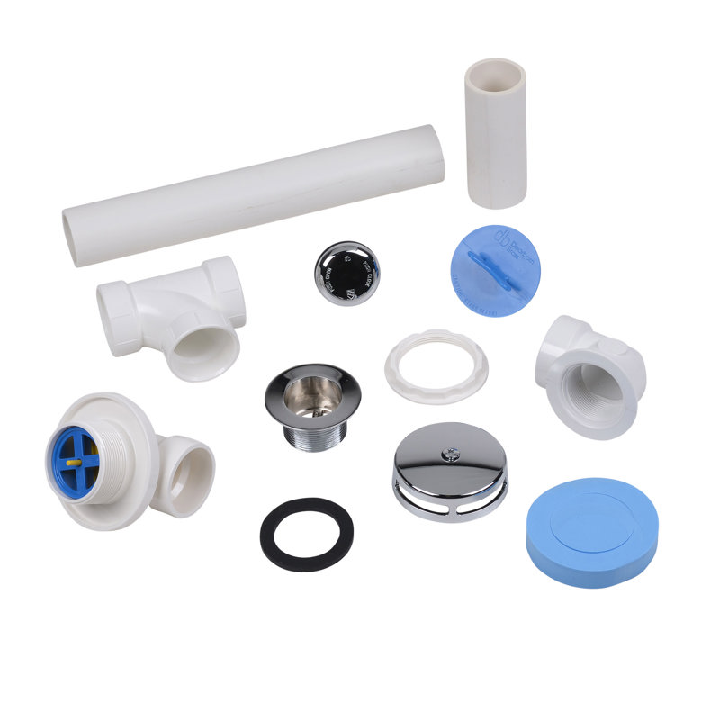 Dearborn® DBlue Full Kit, Schedule 40 - PVC Touch-Toe Stopper w/ Chrome Finish Trim and Test Plug