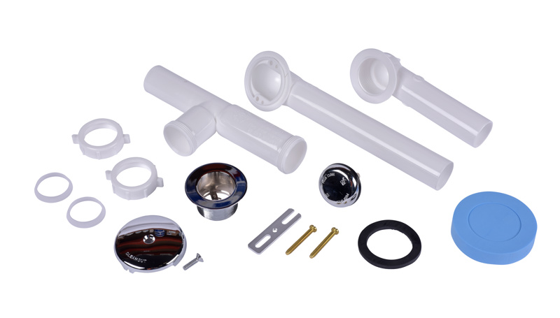 Dearborn® Full Kit, Plastic Tubular – White Touch-Toe Stopper w/ Chrome Finish Trim