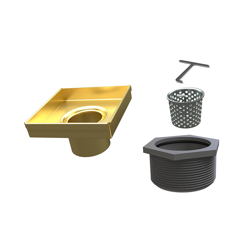 038753016382_H_001.png - 4 in. SquareDrain Body in Brushed Gold