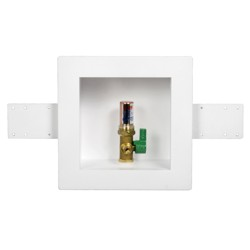 Oatey® Square, 1/4 Turn, Copper, Hammer, Low Lead, Ice Maker Outlet Box - Standard Pack