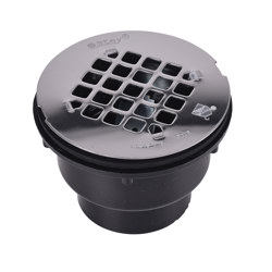 038753420448_H_001.jpg - Oatey® 2 in. 2-Part ABS Solvent Weld Shower Drain with Stainless Steel Strainer