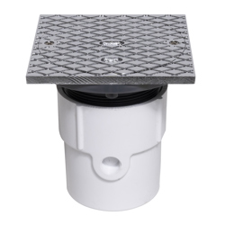 """038753742076_H_001.jpg - Oatey® 3"""" or 4"""" PVC General Purpose Cleanout w/ 6"""" CHR Cover & Square Ring"""