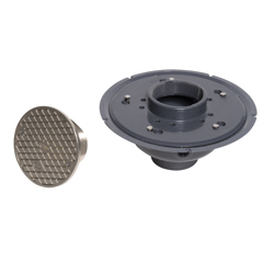 """038753742236_H_001.jpg - Oatey® 3"""" or 4"""" PVC Adj. Commercial Cleanout w/ 6"""" Cast NI Cover & Round Top"""