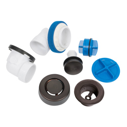 041193462688_H_001.jpg - Dearborn® True Blue® PVC Half Kit, Touch Toe Stopper, with Test Kit, Oil Rubbed Bronze, Finished Drain Spud